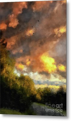 Metal Print featuring the digital art An August Sunset by Lois Bryan