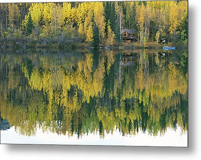 An Autumn View Of A Cabin Reflected Metal Print by Rich Reid
