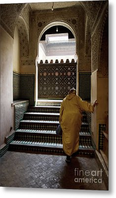 An Elderly Woman Entering The Mosque In Fes, Morocco Metal Print