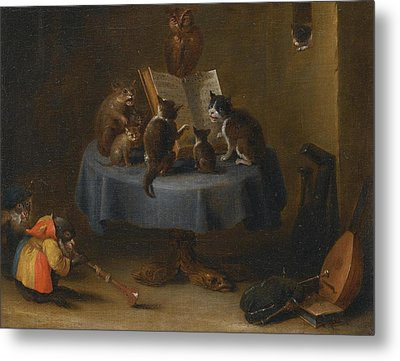 An Interior Scene With Cats Metal Print