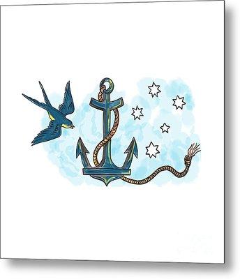Anchor Swallow Southern Star Tattoo Metal Print by Aloysius Patrimonio