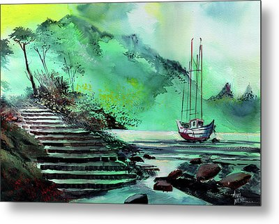Metal Print featuring the painting Anchored by Anil Nene