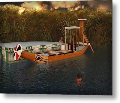 Ancient Egypt Leisure Boat Metal Print
