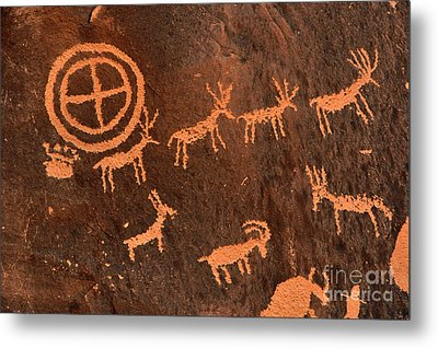 Ancient Indian Petroglyphs Metal Print by Gary Whitton