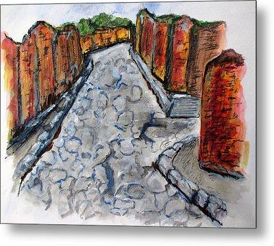 Ancient Street, Pompeii Metal Print by Clyde J Kell