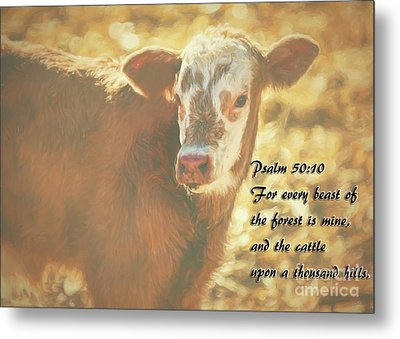 And The Cattle Metal Print by Janice Rae Pariza