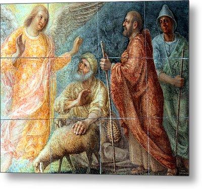 Angel And The Shepherds Metal Print by Munir Alawi