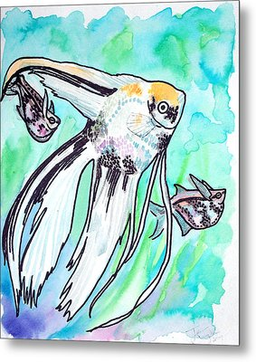 Metal Print featuring the painting Angel Fish And Hatchet Tetras by Jenn Cunningham