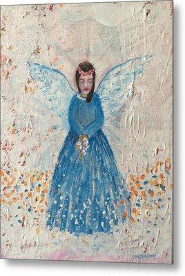 Angel In Blue Metal Print by Jun Jamosmos
