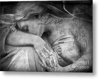 Angel In Mourning - Angel Crying Sad Cemetery Mourner At Grave - Angel Love Script Valentine Print Metal Print