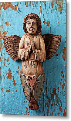 Angel On Blue Wooden Wall Metal Print