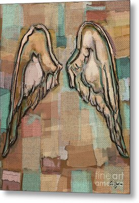 Metal Print featuring the painting Angel Wings by Carrie Joy Byrnes