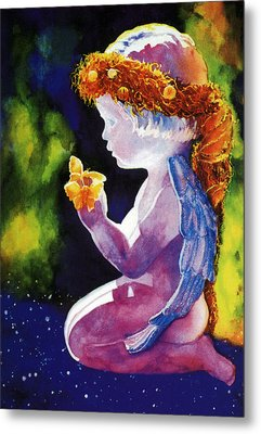 Angel With Butterflies Metal Print by Estela Robles