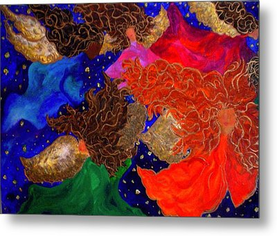 Angels In The Night Sky Metal Print by Laura  Grisham