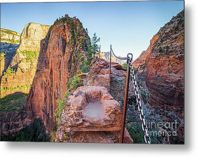 Angels Landing Hiking Trail Metal Print by JR Photography