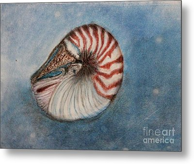 Metal Print featuring the painting Angel's Seashell  by Kim Nelson