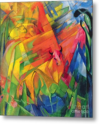 Animals In A Landscape Metal Print by Franz Marc
