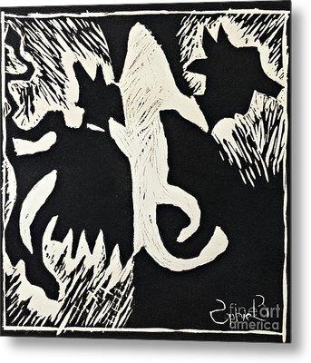 Animals Lino Cut Print Metal Print