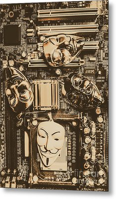 Anonymous Cyber Masks Metal Print