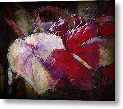 Metal Print featuring the photograph Anthuriums For My Valentine by Lori Seaman