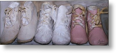 Antique Baby Shoes Metal Print by Linda Scharck