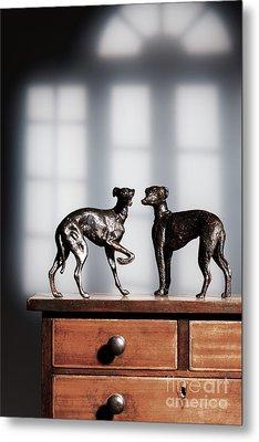 Antique Bronze Greyhound Dogs Metal Print by Amanda Elwell