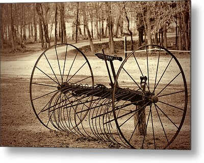 Antique Farm Rake In Sepia Metal Print