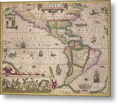 Antique Map Of America Metal Print by Jodocus Hondius