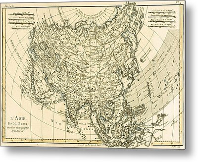 Antique Map Of Asia Metal Print by Guillaume Raynal
