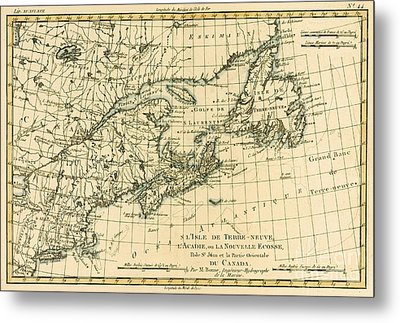 Antique Map Of Eastern Canada Metal Print by Guillaume Raynal