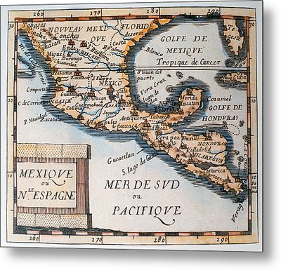 Antique Map Of Mexico Or New Spain Metal Print by French School