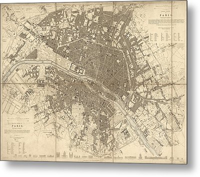 Metal Print featuring the drawing Antique Map Of Paris France By The Society For The Diffusion Of Useful Knowledge - 1834 by Blue Monocle