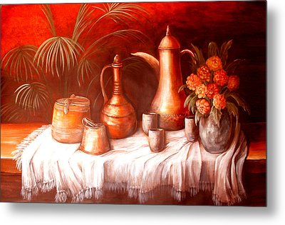 Antique Moroccan Pots Still Life Metal Print by Patricia Rachidi