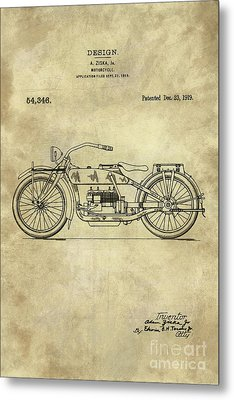 Antique Motorcycle Blueprint Patent Drawing Plan From 1919, Industrial Farmhouse Metal Print