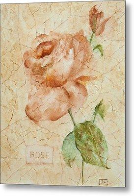 Antique Rose Metal Print by Debbie Lewis