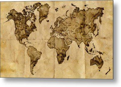 Antique World Map Metal Print by Radu Aldea