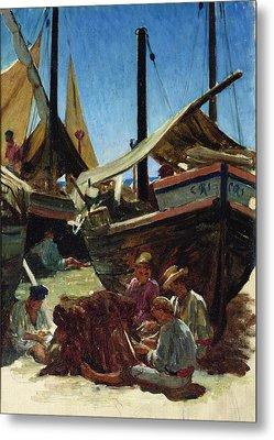 Anzio The Port Metal Print by Antoine Auguste Ernest Hebert