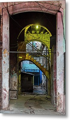 Apartment Enrance Havana Cuba Near Calle C Metal Print by Charles Harden