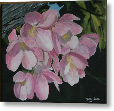 Metal Print featuring the painting Apple Blossoms by Betty-Anne McDonald