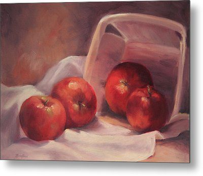 Apples And  Basket Metal Print
