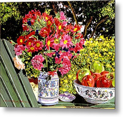 Apples And Flowers Metal Print by David Lloyd Glover