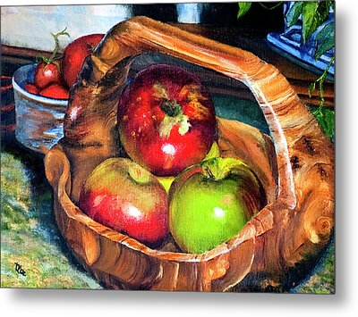 Apples In A Burled Bowl Metal Print