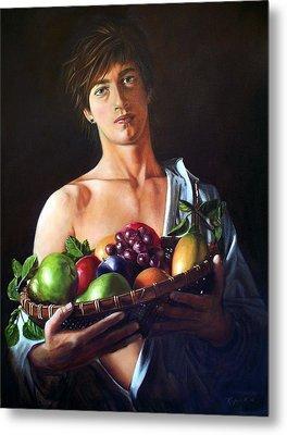 Apres Caravaggio - Garcon Avec Le Panier Du Fruit Metal Print