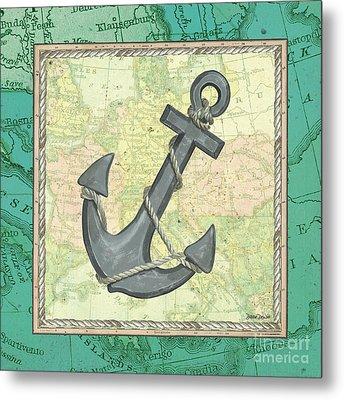 Aqua Maritime Anchor Metal Print