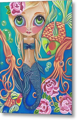 Aquatic Mermaid Metal Print