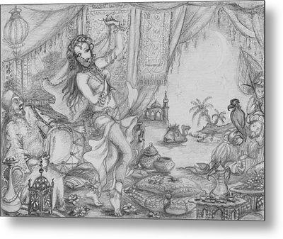 Arabian Nights Study Metal Print by Yvonne Ayoub