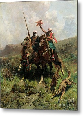 Arabs With A Falcon Metal Print by Alberto Pasini