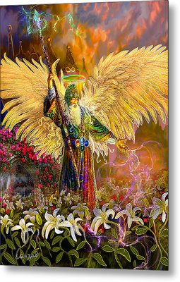 Metal Print featuring the painting Archangel Raziel-angel Tarot Card by Steve Roberts