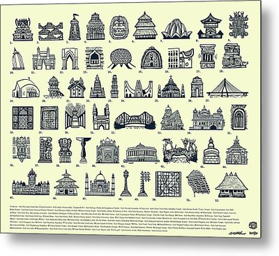 Architectural Icons Of India - Large Metal Print