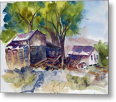 Metal Print featuring the painting Arcularis Barn by Pat Crowther